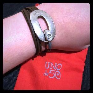 Spanish Silver Wrap Leather Cord Bracelet